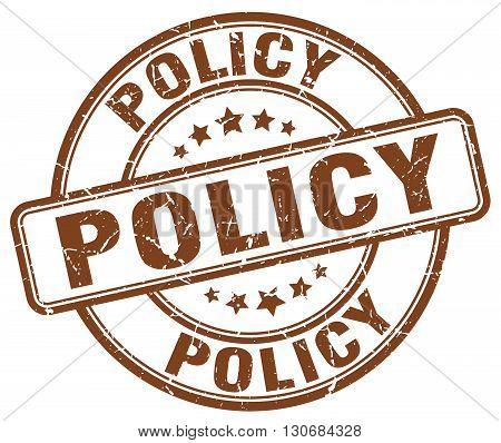 policy brown grunge round vintage rubber stamp