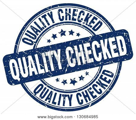 quality checked blue grunge round vintage rubber stamp