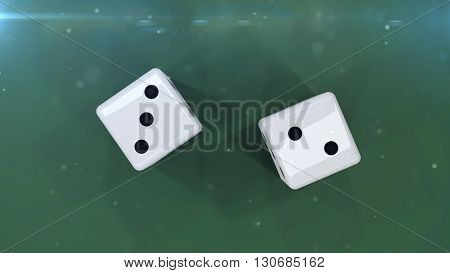 3D Rendering. Two white dices on a green background showing a five isolated