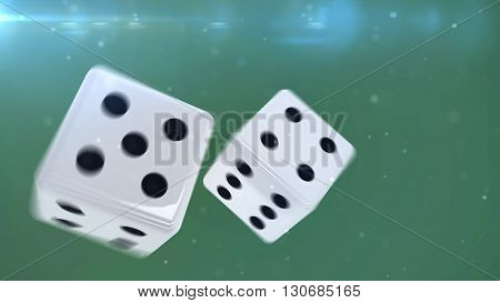 3D Rendering. Two blue gambling dices are falling down isolated on green . closeup isolated