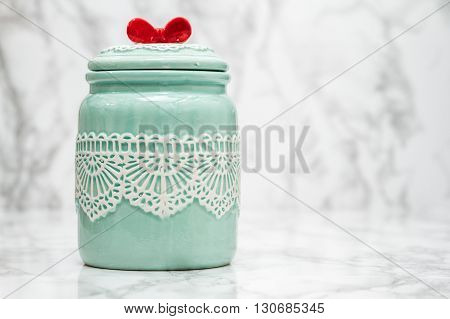 Green Round Porcelain Jar With Lace Pattern