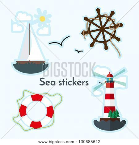Set of sea object - lighthouse sail boat ship wheels and lifebouy. Stikers in flat style.