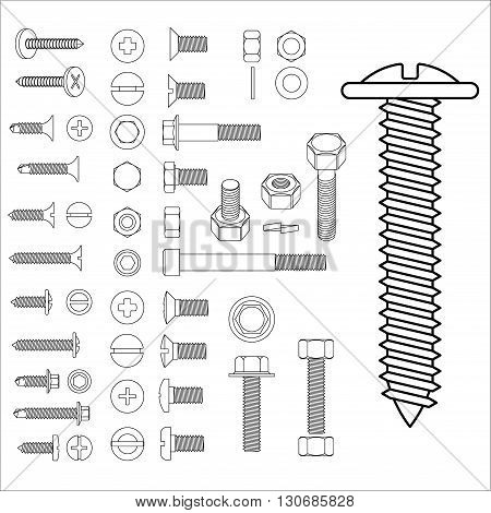 Screw bolt nut big set drawing vector