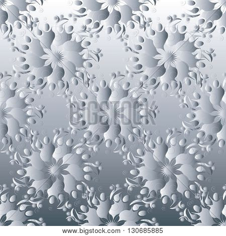 White  silver 3d flowers  seamless pattern. Can be repeated and scaled in any size.