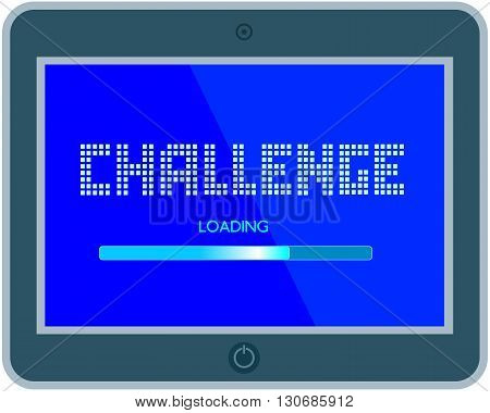 Challenge Concept.Motivation Quote Challenge on computer display loading bar. Business challenge Concept. Banner with quotation web design. Vector illustration.