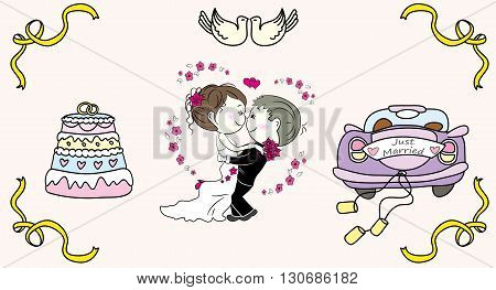 cake with candles bridal car the bride and groom doodle hand drawing vector illustration