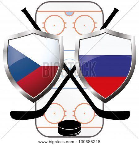 hockey logo- Czech Republic vs russia vector
