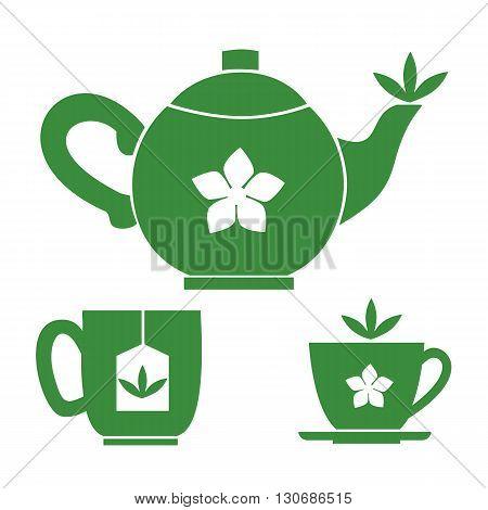 Teapot tea cups. Jasmine Green tea room logo. Organic hot drink label design. Green tea leaves isolated. Jasmine flower. Herbal Tea room emblem isolated concept. Vector illustration