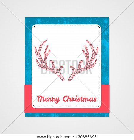Deer antlers with abstract doodle pattern. Christmas collection. Vector illustration