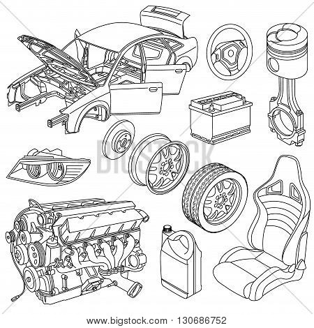 Car spare parts icons isometric vector set