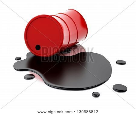 3d renderer image. One red barrel of oil spilled. Isolated white background.