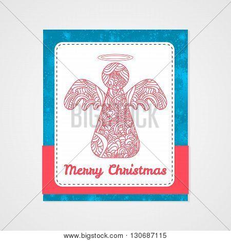 Toys on christmas tree - angel. Christmas collection. Christmas collection. Doodle stylized vector illustration.