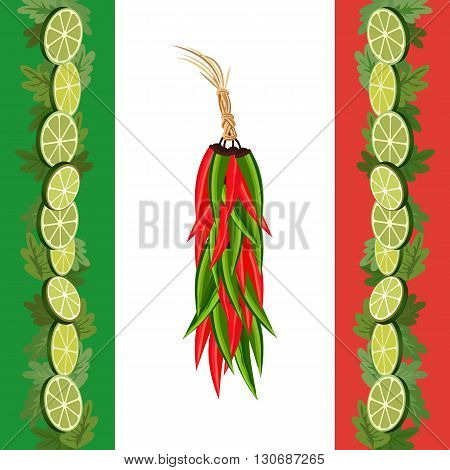 Mexican style. Mexican border Concept. Fiesta menu frame. Chili pepper lime cilantro. Flag of Mexico colors. Holiday Cinco de Mayo. Party banner background. Vector Illustration