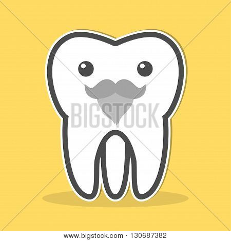 Wisdom tooth with a gray beard and mustache. Vector illustration
