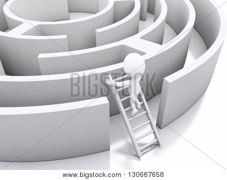 3d renderer image. White people in a maze with white stairs. Challenge and business concept. Isolated white background.