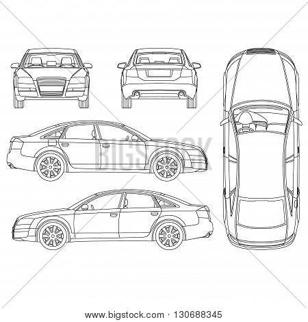 Stock Vector Car Line Draw Insurance%2C Rent Damage%2C Condition Report Form Blueprint