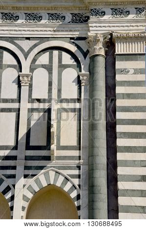 Details of the Santa Maria Novella church in Florence in Tuscany - Italy