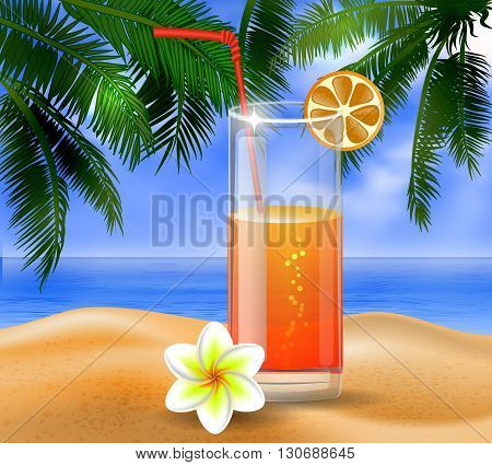 tropical vector background with leaves of palm trees summer sky  clouds exotic beverage and fruit on a beach