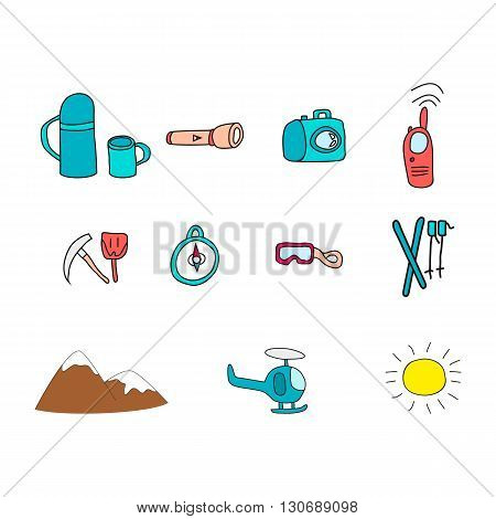 Icons with object for ski vacation. Vector illustration.