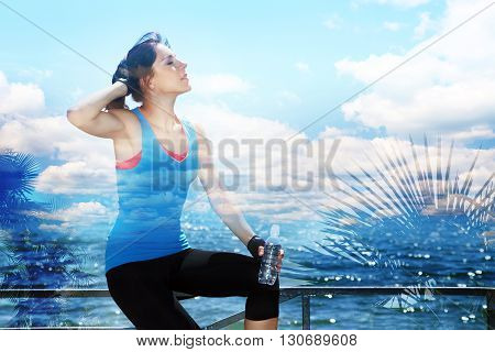 double exposure of sporty woman with a water bottle in training. outdoor sports. healthy sport lifestyle. travel, nature and vastness of the ocean