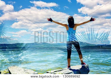 double exposure of athletic woman on the background of the sea. freedom and a healthy lifestyle. harmonious person outdoors. travel, nature and vastness of the ocean. freedom