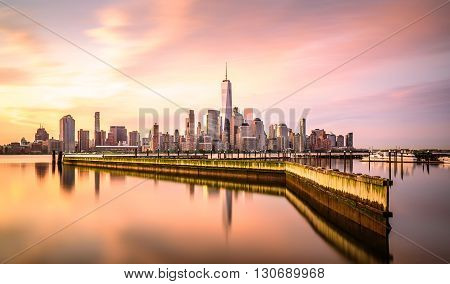 Dawn in New York City shot from Newport Jersey City