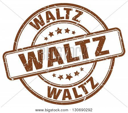 waltz brown grunge round vintage rubber stamp