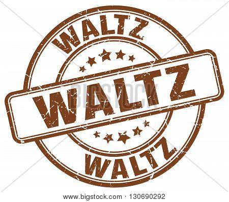 waltz brown grunge round vintage rubber stamp