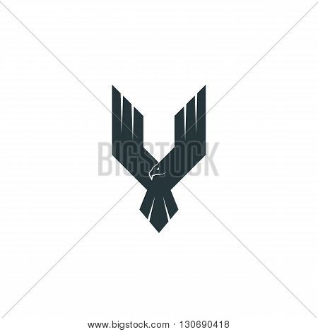 Silhouette eagle logo predator wings up flying hawk abstract shape phoenix