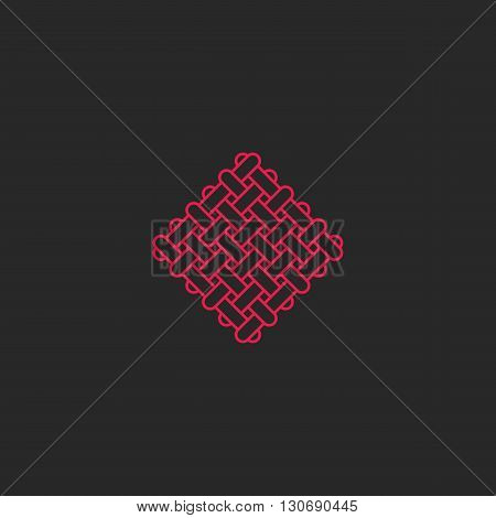 Sacred Geometric Rectangles Shape Pattern Logo, Endless Intersection Pink Lines, Hipster Meditate Em