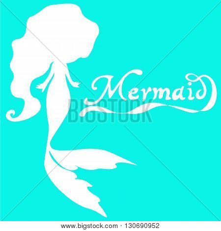 cute fairy swimming mermaid with long curly hair silhouette vector illustration of white on a  turquoise  background