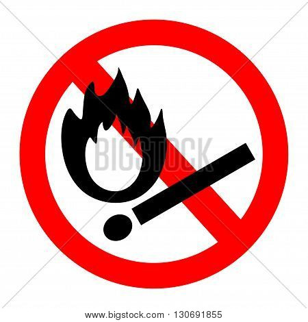 Vector illustration of no flame red and white sign