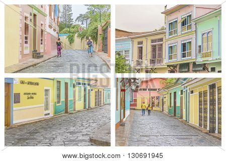 GUAYAQUIL ECUADOR - OCTOBER - 2015 - Photo set of Las Penas an emblematic neighborhood of Guayaquil known for its colonial architecture.