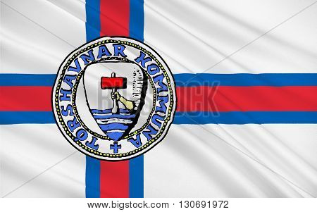 Flag of Torshavn is the capital and largest city of the Faroe Islands a country situated between Scotland and Iceland