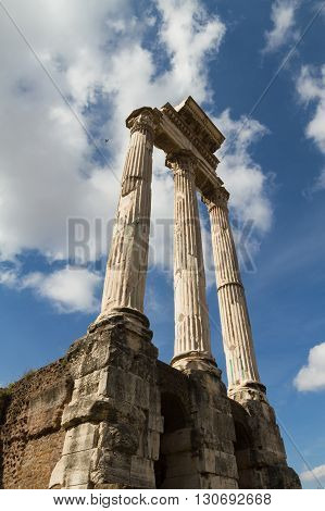 Temple of Castor and Pollux at the Forum Romanum Rome Italy