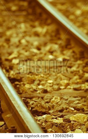 Old rusty railway tracks, vintage, yellowish, brown