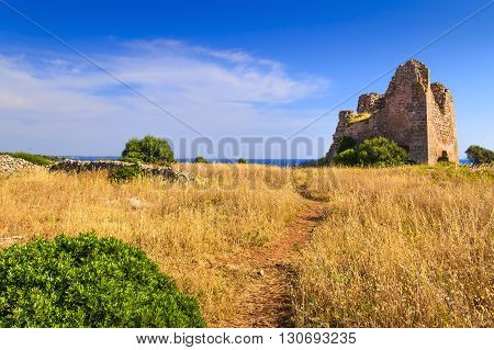 Natural Park of Porto Selvaggio (Nardo'): Uluzzo watchtower.(Salento) Italy.Salento is dotted with watchtowers as always it has been the subject of invasions and saks by the Turks.