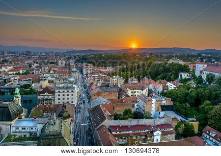 Aerial view at Zagreb downtown, sunset time, Croatia capital city.