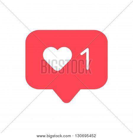 Simple flat like icon in pink color. Like counter notification emblem isolated on white background.