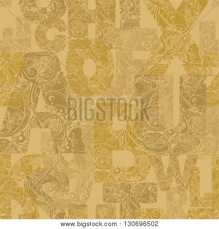 Seamless Pattern With Decorative Letters. Modern Vector Background