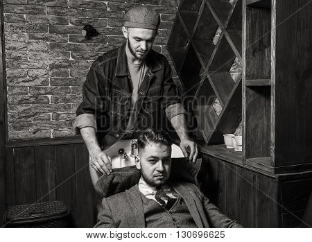 Cleaning head Barbershop. Cleaning head barber's. Barber washing head client. Hairdressers wash head to the client.
