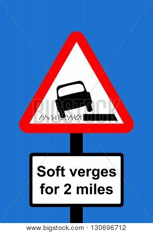 A Warning triangle Soft verges traffic sign