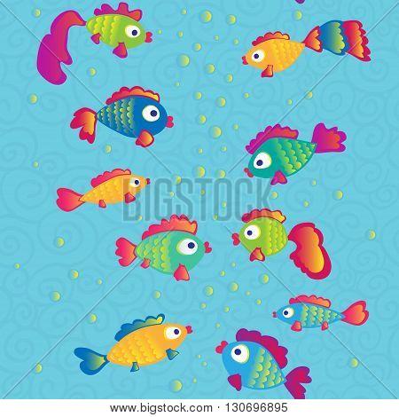 Fishes communicate cartoon seamless pattern. Vector illustration.