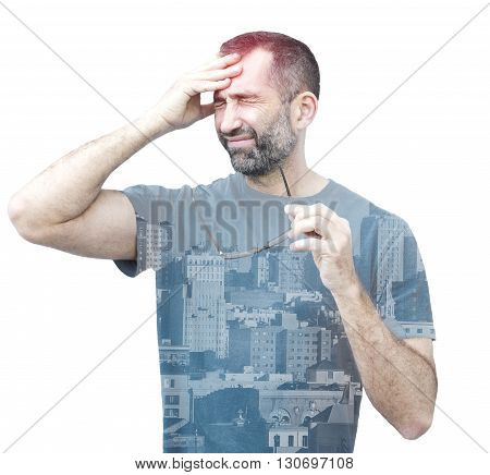 double exposure of man with headache and view of a city