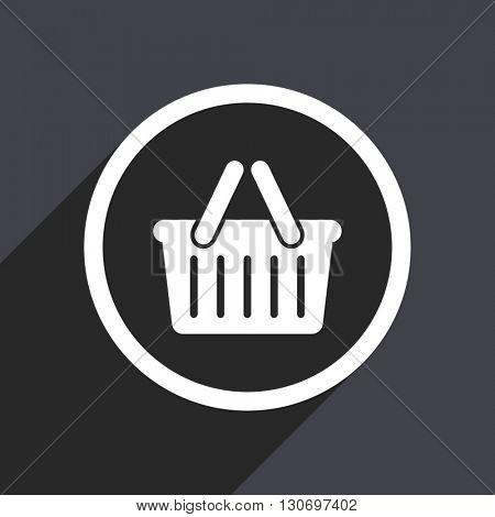 Basket icon. Flat design grey square vector button.