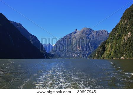 Mountain landscape in the Milford Sound New Zealand.