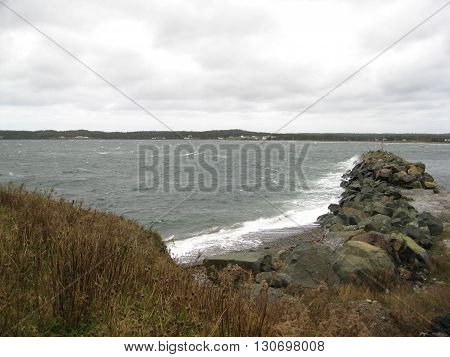 Rock point in the Atlantic  waters  from St. Catharine's