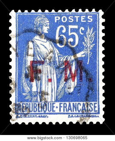 FRANCE - CIRCA 1938 : Cancelled postage stamp printed by France, that shows Peace with olive branch.