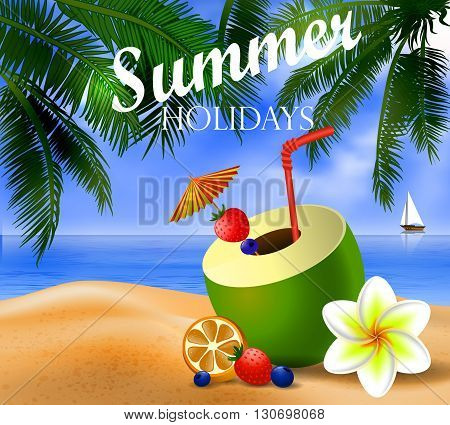 Fresh drinking coconut with a straw, cocktail umbrella and  fruits and berries on a beach