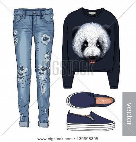 Lady fashion set of autumn, winter season outfit. Illustration stylish and trendy clothing. Denim, slip-on, jeans. Vector